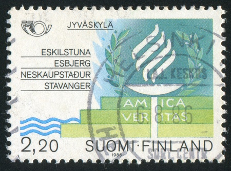 FINLAND - CIRCA 1986: stamp printed by Finland, shows Burning Torch, circa 1986 photo