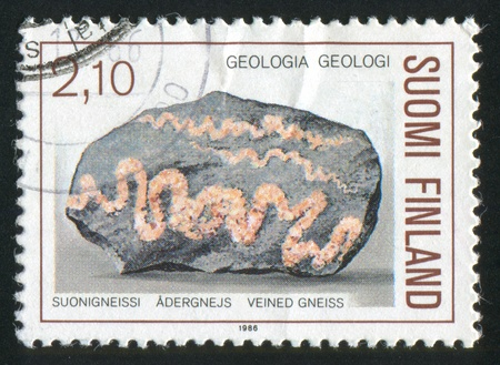 FINLAND - CIRCA 1986: stamp printed by Finland, shows Veined Gneiss, circa 1986 Stock Photo - 13891758