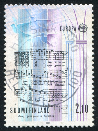 FINLAND - CIRCA 1985: stamp printed by Finland, shows Notes of the Carol, circa 1985 Stock Photo - 13891768
