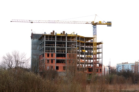 Construction site with crane and building. Kaliningrad, Russia.