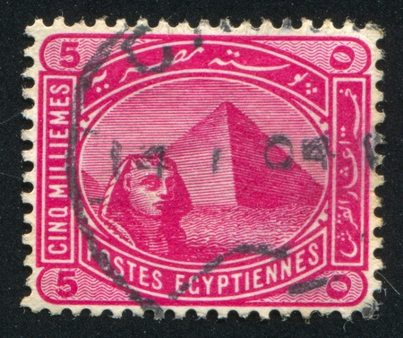 EGYPT - CIRCA 1906: stamp printed by Egypt, shows Sphinx and Pyramids, circa 1906 photo