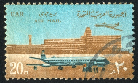 EGYPT - CIRCA 1967: stamp printed by Egypt, shows Cairo international airport, Airliners, circa 1967 photo