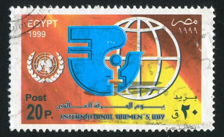 EGYPT - CIRCA 1999: stamp printed by Egypt, shows International womens day Emblem, circa 1999