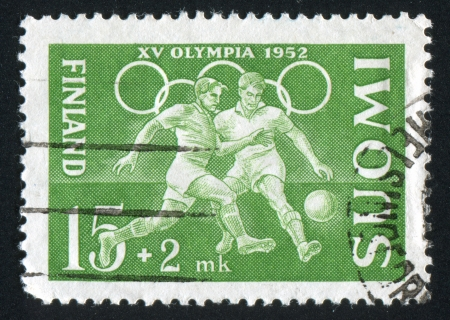 FINLAND - CIRCA 1952: stamp printed by Finland, shows Football Players, circa 1952 Stock Photo - 14136965