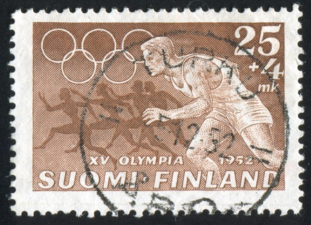 FINLAND - CIRCA 1952: stamp printed by Finland, shows Runner, circa 1952