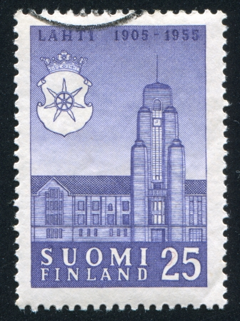 FINLAND - CIRCA 1955: stamp printed by Finland, shows Lahti Town Hall, circa 1955 photo
