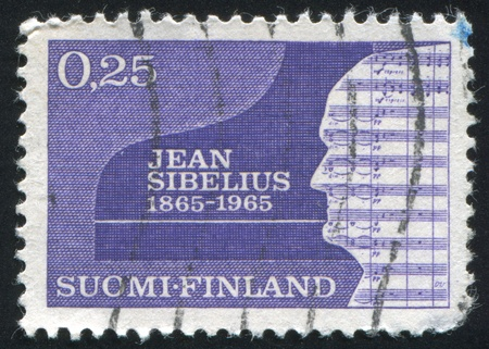 sibelius: FINLAND - CIRCA 1965: stamp printed by Finland, shows Silhouette of Jean Sibelius, circa 1965