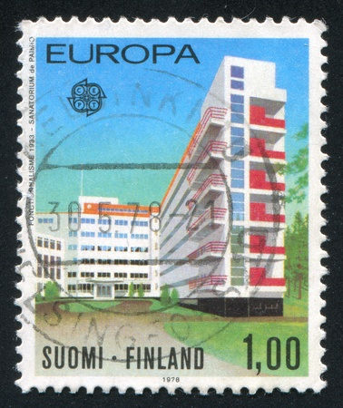 FINLAND - CIRCA 1978: stamp printed by Finland, shows Paimio Sanitarium by Alvar Aalto, circa 1978 photo