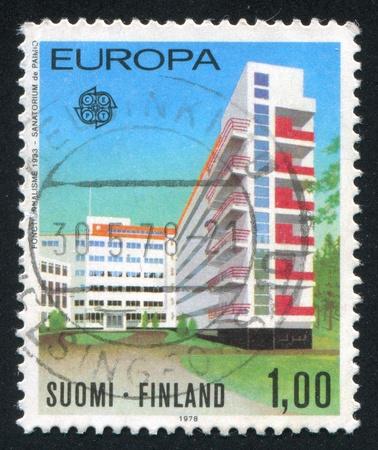 sanitarium: FINLAND - CIRCA 1978: stamp printed by Finland, shows Paimio Sanitarium by Alvar Aalto, circa 1978 Stock Photo