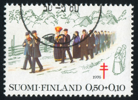 FINLAND - CIRCA 1976: stamp printed by Finland, shows Wedding Procession, circa 1976