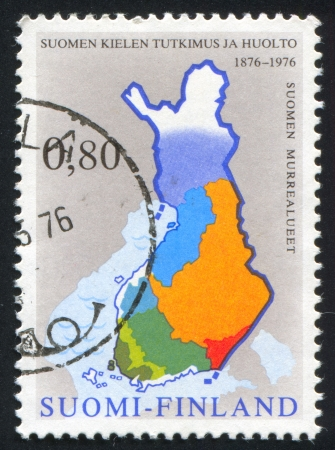 dialects: FINLAND - CIRCA 1976: stamp printed by Finland, shows Map with Areas of Different Dialects, circa 1976