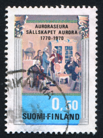 FINLAND - CIRCA 1970: stamp printed by Finland, shows Meeting of Auroraseura Society, circa 1970 photo