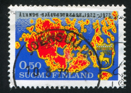 FINLAND - CIRCA 1972: stamp printed by Finland, shows Aland island, circa 1972 photo