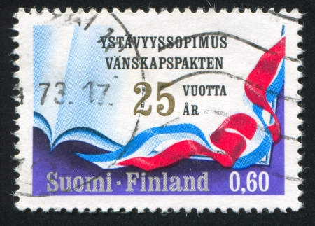 treaty: FINLAND - CIRCA 1972: stamp printed by Finland, shows Soviet Finnish Treaty of Friendship, circa 1972