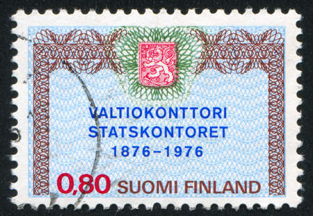 FINLAND - CIRCA 1976: stamp printed by Finland, shows Centenary of State Treasury, circa 1976