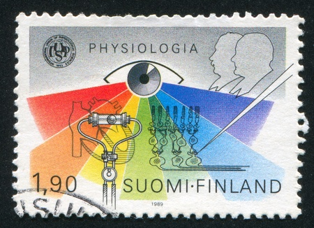 founder: FINLAND - CIRCA 1989: stamp printed by Finland, shows  International Physiology Congress, Basel, circa 1989