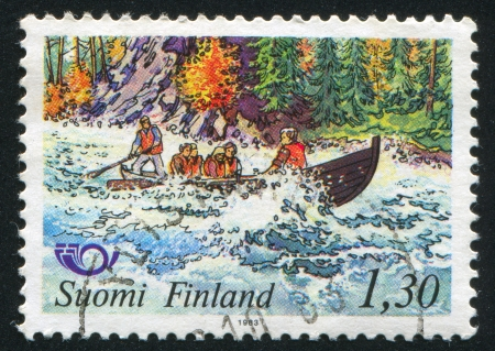 seething: FINLAND - CIRCA 1983: stamp printed by Finland, shows Kitkajoki River rapids, circa 1983