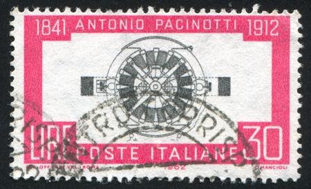 dynamo: ITALY - CIRCA 1962: stamp printed by Italy, shows Pacinottis Dynamo, circa 1962 Stock Photo