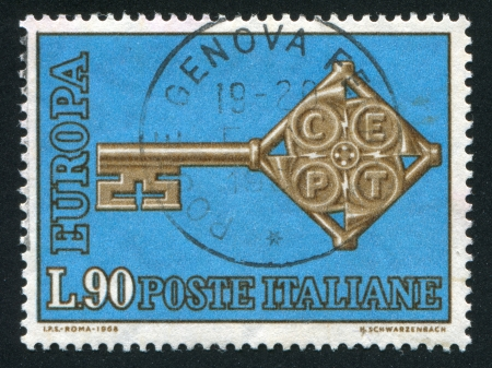 passkey: ITALY - CIRCA 1968: stamp printed by Italy, shows The Key, Europa Issue, circa 1968 Stock Photo