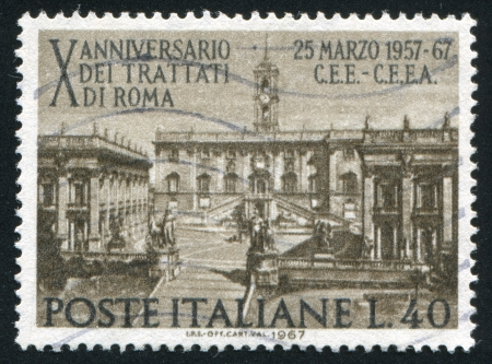 window seal: ITALY - CIRCA 1967: stamp printed by Italy, shows Seat of Parliament on Capitoline Hill, Rome, circa 1967