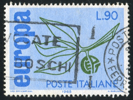 nervation: ITALY - CIRCA 1965: stamp printed by Italy, shows Stylized branch with leaves, Europa Issue, circa 1965 Stock Photo