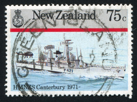 NEW ZEALAND - CIRCA 1985: stamp printed by New Zealand, shows Navy Ship, Canterbury, circa 1985 photo