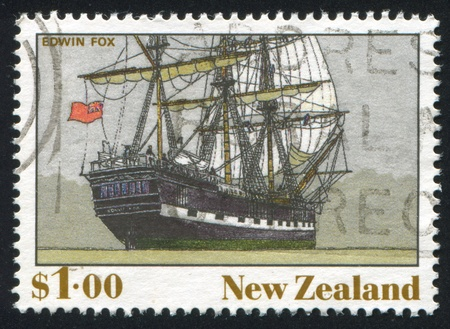 NEW ZEALAND - CIRCA 1990: stamp printed by New Zealand, shows The Ship, Edwin Fox, circa 1990 photo