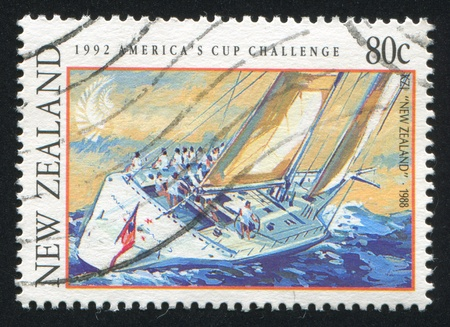NEW ZEALAND - CIRCA 1992: stamp printed by New Zealand, shows Yacht  circa 1992 photo