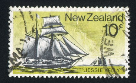 "topsail: NEW ZEALAND - CIRCA 1975: stamp printed by New Zealand, shows Historic Sailing Ship, Topsail schooner ""Jessie Kelly, circa 1975"
