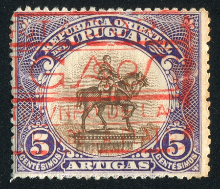 URUGUAY - CIRCA 1923: stamp printed by Uruguay, shows Equestrian Statue of Artigas, circa 1923 Stock Photo - 13982833