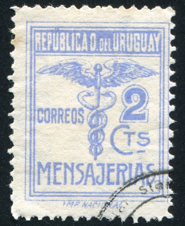 URUGUAY - CIRCA 1922: stamp printed by Uruguay, shows Caduceus, circa 1922 Stock Photo - 13980517