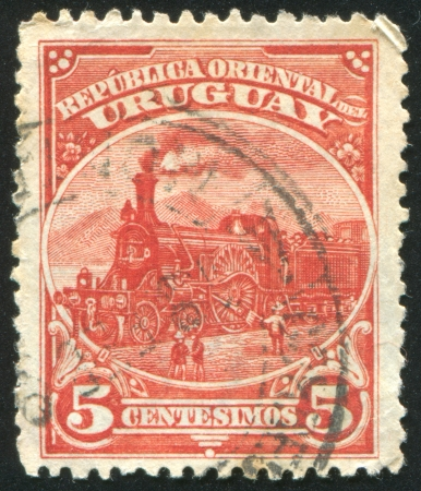 URUGUAY - CIRCA 1895: stamp printed by Uruguay, shows Locomotive, circa 1895 photo