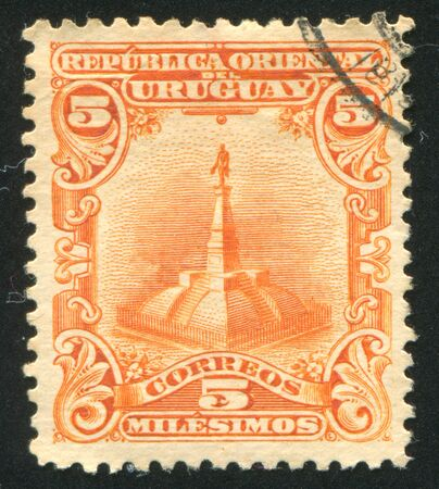 URUGUAY - CIRCA 1899: stamp printed by Uruguay, shows Statue of Artigas, circa 1899 Stock Photo - 13981856