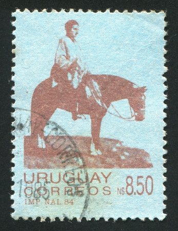URUGUAY - CIRCA 1984: stamp printed by Uruguay, shows Artigas on the Plains, circa 1984 Stock Photo - 14137057