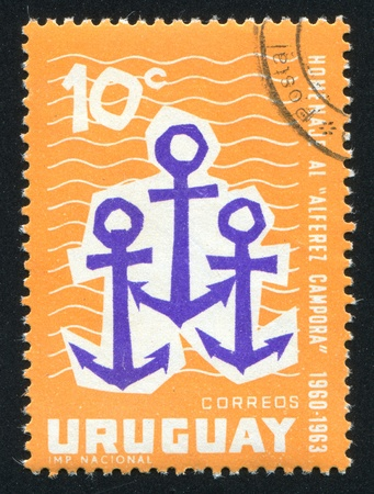 URUGUAY - CIRCA 1963: stamp printed by Uruguay, shows Anchors, circa 1963 Stock Photo - 13981731
