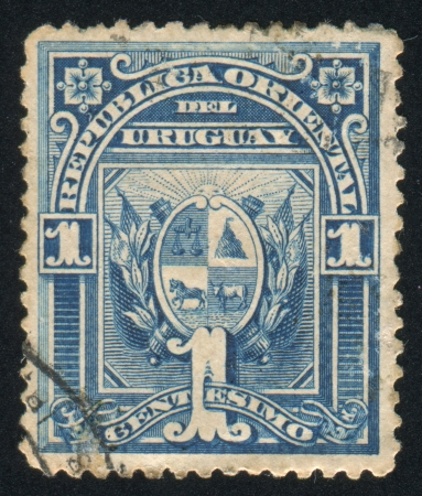 URUGUAY - CIRCA 1889: stamp printed by Uruguay, shows Coat of Arms, circa 1889 photo