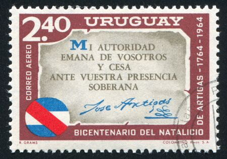 URUGUAY - CIRCA 1965: stamp printed by Uruguay, shows Artigas Quotation, circa 1965 Stock Photo - 14137226
