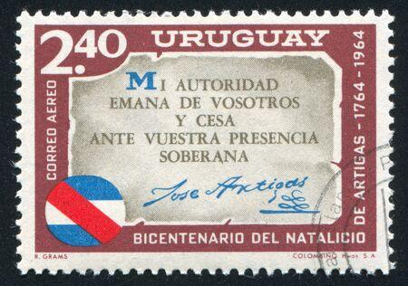 artigas: URUGUAY - CIRCA 1965: stamp printed by Uruguay, shows Artigas Quotation, circa 1965 Editorial