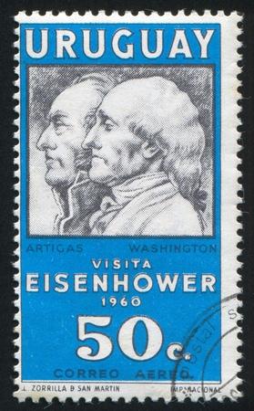 artigas: URUGUAY - CIRCA 1960: stamp printed by Uruguay, shows Jose Artigas and George Washington, circa 1960