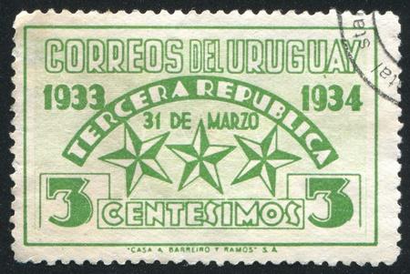 URUGUAY - CIRCA 1934: stamp printed by Uruguay, shows Stars Representing the Three Constitutions, circa 1934 Stock Photo - 13980477