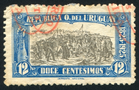 URUGUAY - CIRCA 1925: stamp printed by Uruguay, shows Landing of the 33 Immortals Led by Juan Antonio Lavalleja, circa 1925 Stock Photo - 13983505
