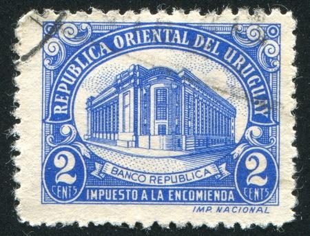 URUGUAY - CIRCA 1945: stamp printed by Uruguay, shows Bank of the Republic, circa 1945 photo