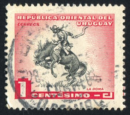 URUGUAY - CIRCA 1954: stamp printed by Uruguay, shows Horse Breaking, circa 1954 Stock Photo - 13983164