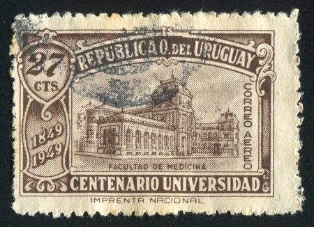 medical school: URUGUAY - CIRCA 1949: stamp printed by Uruguay, shows Medical School, circa 1949
