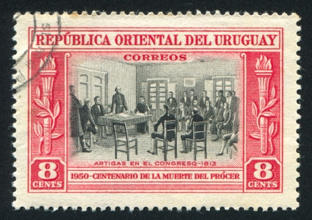 URUGUAY - CIRCA 1952: stamp printed by Uruguay, shows Artigas in Congress, circa 1952 Stock Photo - 14137227