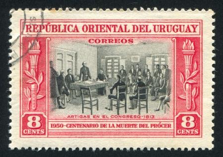 artigas: URUGUAY - CIRCA 1952: stamp printed by Uruguay, shows Artigas in Congress, circa 1952