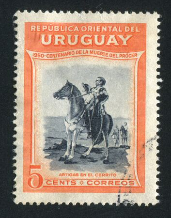 URUGUAY - CIRCA 1952: stamp printed by Uruguay, shows Equestrian Artigas, circa 1952 Stock Photo - 14136979