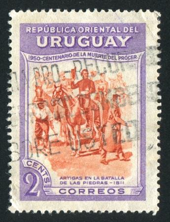 URUGUAY - CIRCA 1952: stamp printed by Uruguay, shows Equestrian Artigas, circa 1952 Stock Photo - 14136978