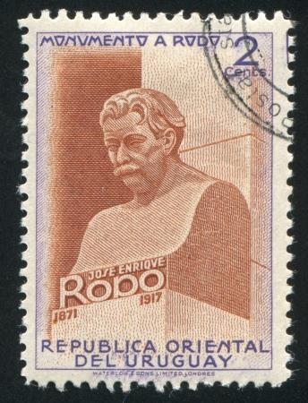 URUGUAY - CIRCA 1948: stamp printed by Uruguay, shows Bust of Jose Enrique Rodo, circa 1948 Stock Photo - 14137052
