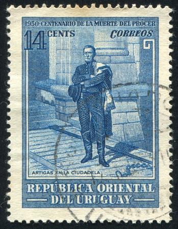 artigas: URUGUAY - CIRCA 1952: stamp printed by Uruguay, shows Artigas at the Citadel, circa 1952